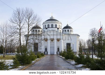 PUSHKIN, RUSSIA - FEBRUARY 24, 2014: Sophia (Ascension) Cathedral march afternoon. The landmark of Tsarskoye Selo