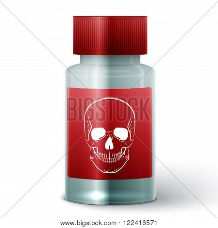 Medicine bottle with poisonous liquid on white background