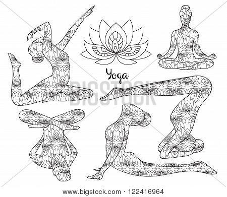 Yoga silhouette set. Yoga silhouette icons. Yoga silhouette art.