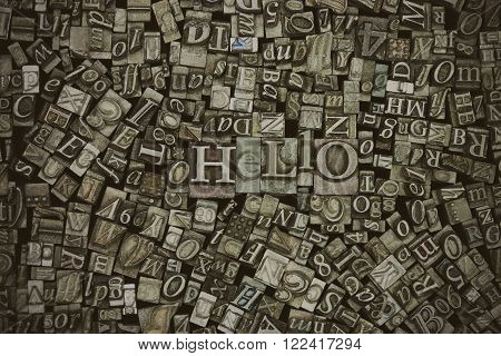 Close Up Of Typeset Letters With The Word Hello