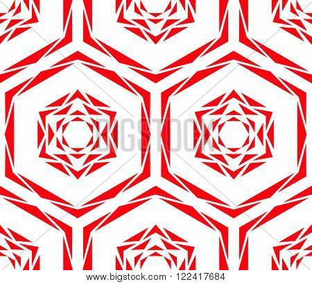 Vector Geometric Red Rose Pattern. Abstract floral background for fabric print, fashionable textile, furniture. Red flower pattern in minimalistic style. Vector flower design, decorative roses pattern