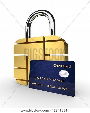 3d credit cards with sim padlock isolated over white background