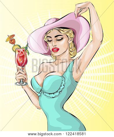 Pin-up Woman Wearing Wide Brim Hats With Cocktail