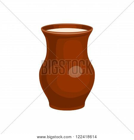 Clay jug full of milk icon in cartoon style on a white background