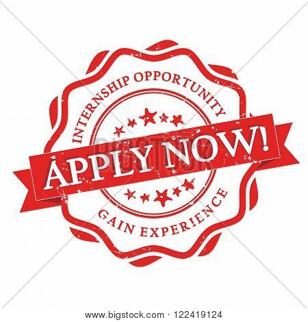 Apply for Internship -  gain experience -  red grunge label with ribbon on white background. Stamp for Internship recruitment.