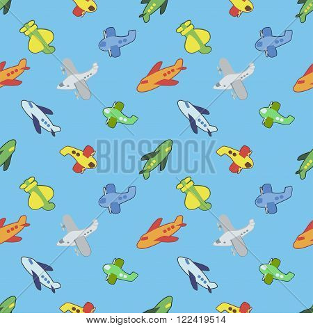 Seamless pattern with colorful childrens toys airplane.