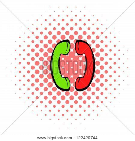 Two handsets icon in comics style isolated on white background