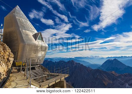 Modern architecture on Zugspitze mountain, Alps, Germany