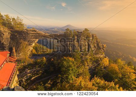 Pravcicka Gate in autumn colors Bohemian Saxon Switzerland Czech Republic