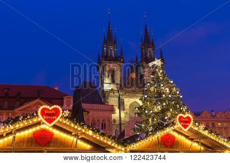 Xmas markets in Prague Oldtown Square Czech Republic illuminated