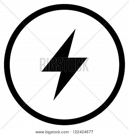Electrical Strike vector icon. Picture style is flat electric strike rounded icon drawn with black color on a white background.