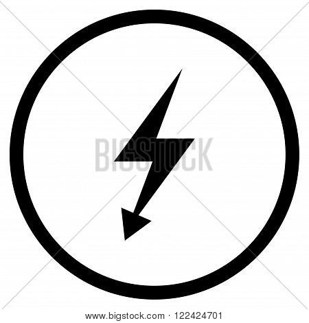 Electric Strike vector icon. Picture style is flat electric strike rounded icon drawn with black color on a white background.