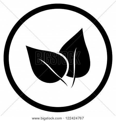 Flora Plant vector icon. Picture style is flat flora plant rounded icon drawn with black color on a white background.