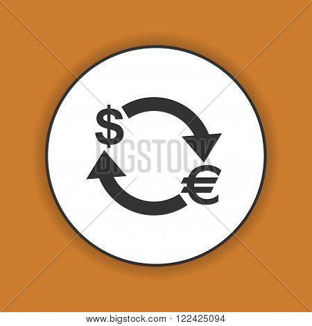 Money convert icon. Euro Dollar. Flat design style