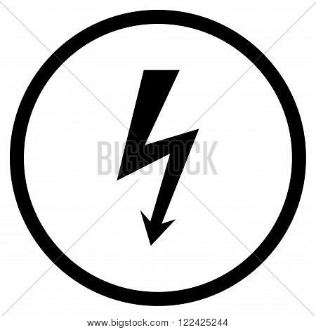 High Voltage vector icon. Picture style is flat high voltage rounded icon drawn with black color on a white background.