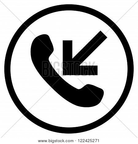 Incoming Call vector icon. Picture style is flat incoming call rounded icon drawn with black color on a white background.