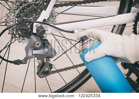 Preparing bicycle for a new season. Lubricating freewheel or cogwheel