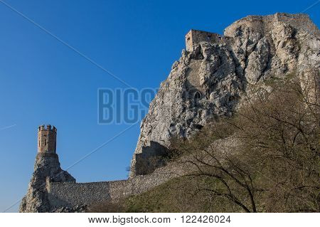 Rocky mountain with ruins of the castle on the top. Beside famous Maiden tower. Blue sky