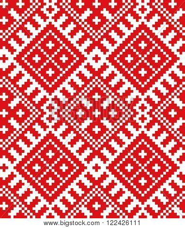 Belorussian ethnic ornament, seamless pattern. Vector illustration. Slovenian Traditional Pattern Ornament. Seamless Background. Belarusian pattern