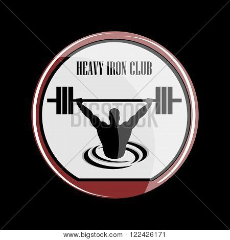 Icon weightlifting and fitness club on a black background