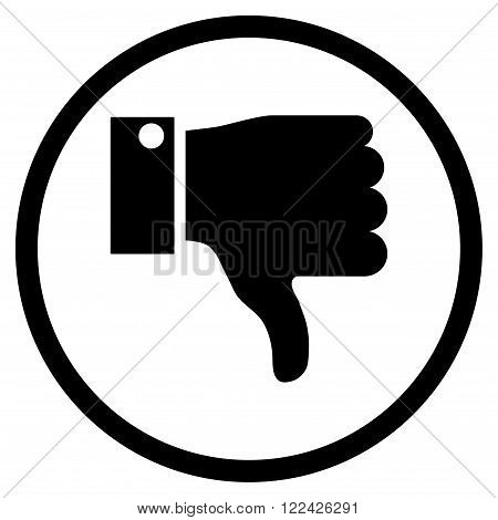 Thumb Down vector icon. Picture style is flat thumb down rounded icon drawn with black color on a white background.