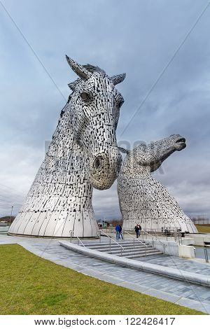 FALKIRK, UNITED KINGDOM - MARCH 12: the Kelpies sculptures on March 12, 2016 in Falkirk, United Kingdom. The Kelpies are the World's largest equine sculptures.