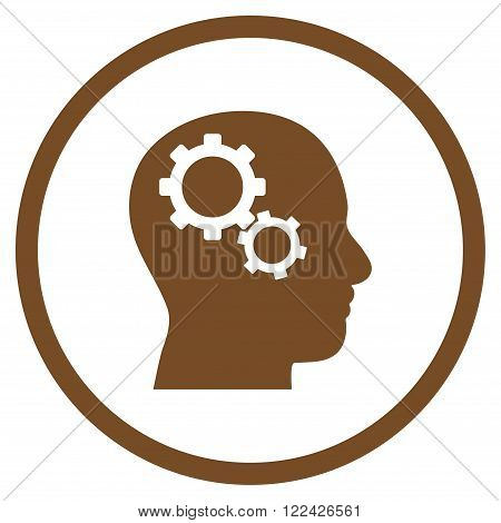Brain Preferences vector icon. Picture style is flat brain gears rounded icon drawn with brown color on a white background.