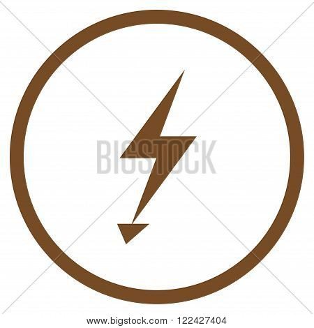 Electrical Strike vector icon. Picture style is flat electric strike rounded icon drawn with brown color on a white background.