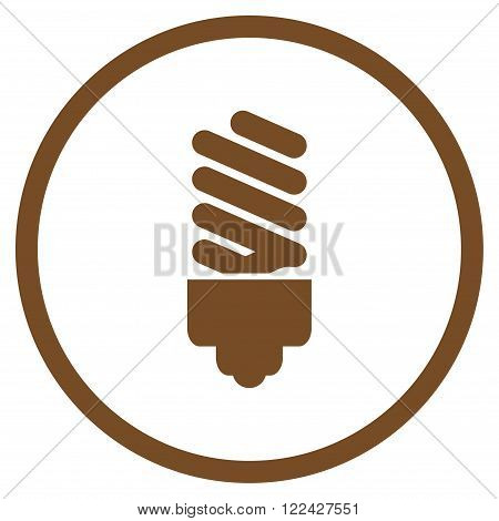 Fluorescent Bulb vector icon. Picture style is flat fluorescent bulb rounded icon drawn with brown color on a white background.