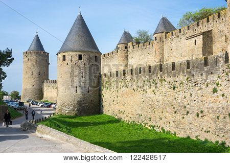 CARCASSONNE, FRANCE - MAY 05, 2015: Medieval castle of Carcassonne, Languedoc - Roussillon, France