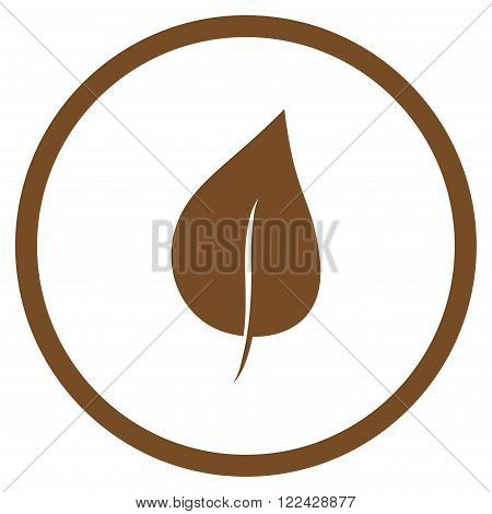 Plant Leaf vector icon. Picture style is flat plant leaf rounded icon drawn with brown color on a white background.