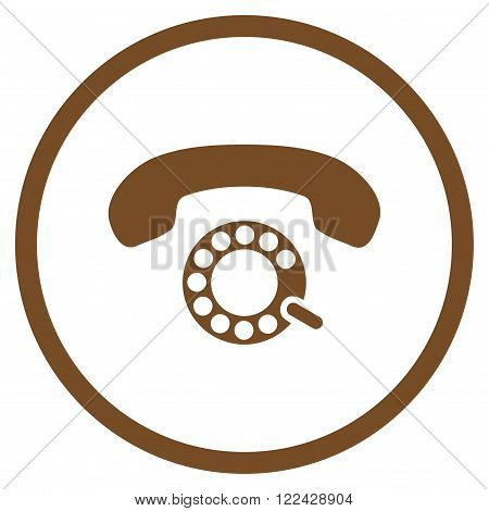 Pulse Dialing vector icon. Picture style is flat pulse dialing rounded icon drawn with brown color on a white background.