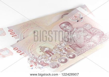 Closed up Thai banknote 100 Baht isolated on white background