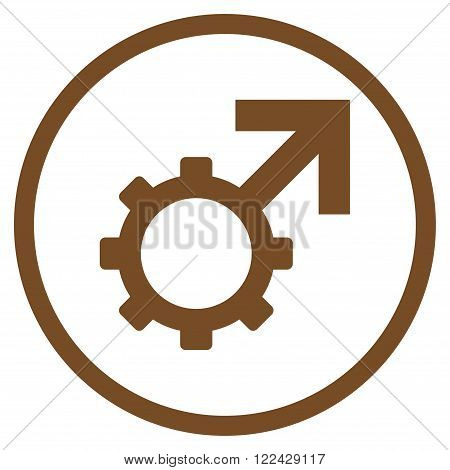 Technological Potence vector icon. Picture style is flat technological potence rounded icon drawn with brown color on a white background.