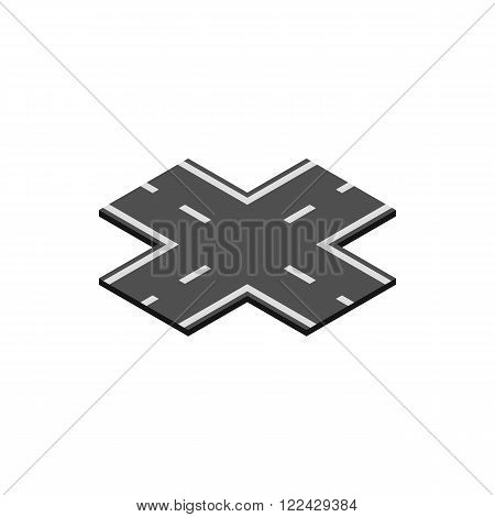 Crossroad icon in isometric 3d style on a white background
