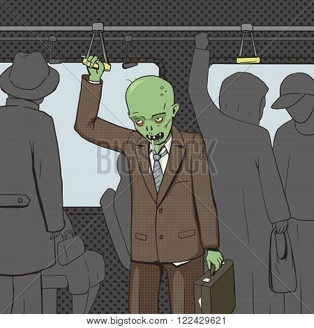 Zombie goes to work by public transport pop art style vector illustration. Comic book style imitation. Vintage retro style. Conceptual illustration