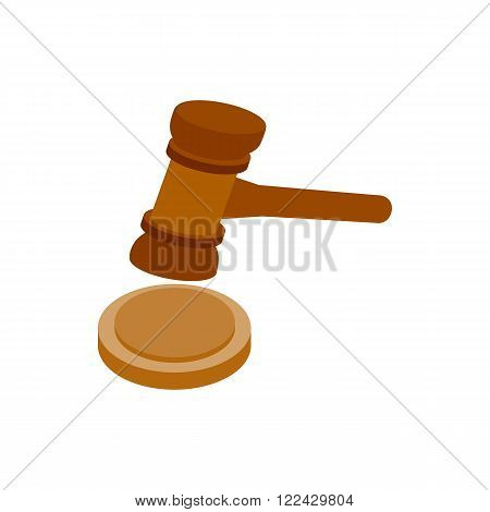 A wooden judge gavel and soundboard icon in isometric 3d style on a white background