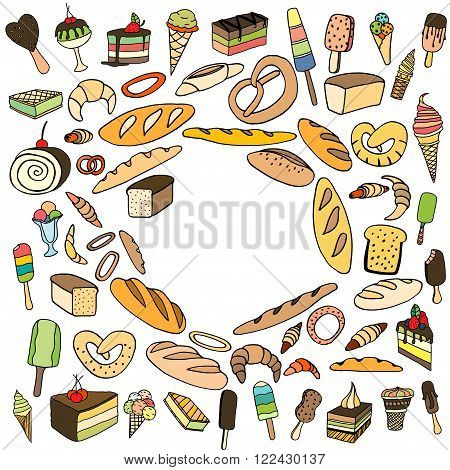 Set of ice-cream Bread and cake. Vector doodle elements. Isolated on white background