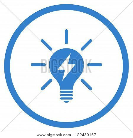 Electric Light Bulb vector icon. Picture style is flat electric light bulb rounded icon drawn with cobalt color on a white background.