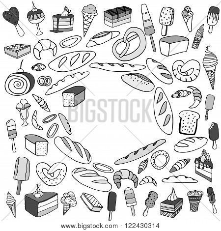 Set of ice-cream Bread and cake. Monochrome Vector doodle elements. Isolated on white background