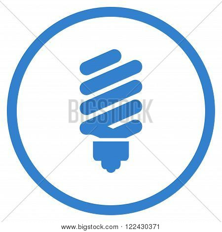 Fluorescent Bulb vector icon. Picture style is flat fluorescent bulb rounded icon drawn with cobalt color on a white background.