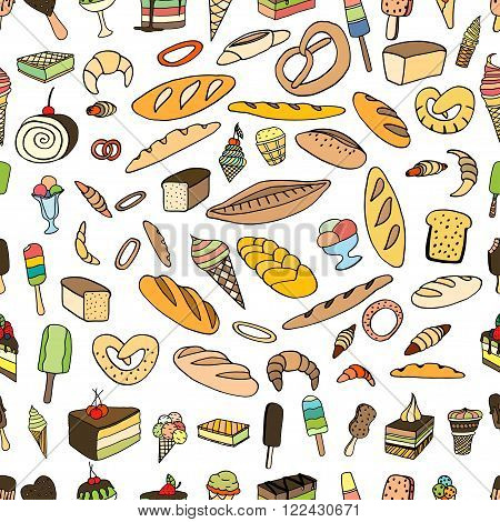 Seamless pattern of ice-cream Bread and cake. Vector doodle elements.