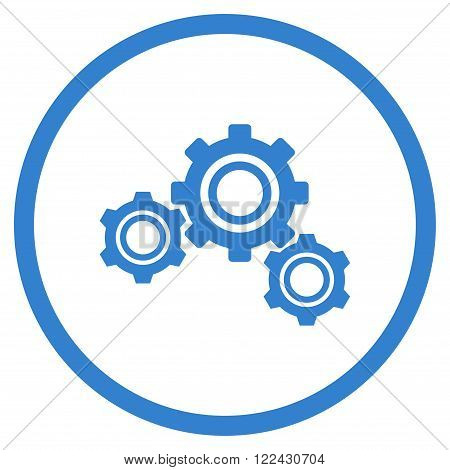 Engine Components vector icon. Picture style is flat gears rounded icon drawn with cobalt color on a white background.