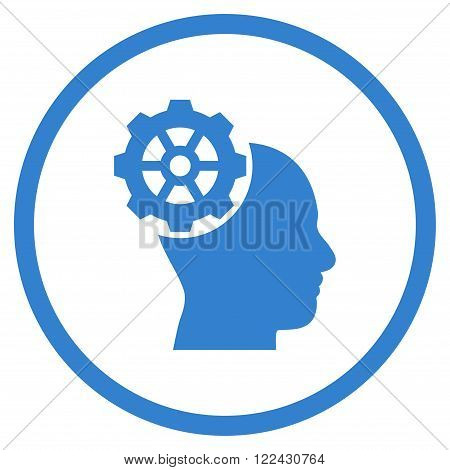 Head Gear vector icon. Picture style is flat head gear rounded icon drawn with cobalt color on a white background.