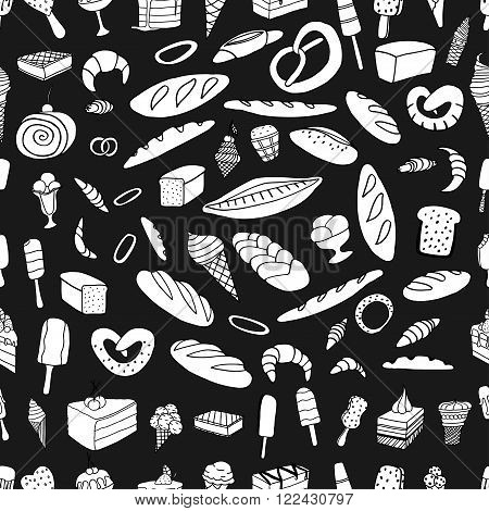 Seamless pattern of ice-cream Bread and cake. Monochrome Vector doodle elements.