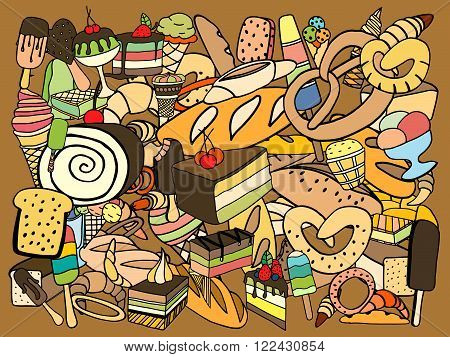 Set of ice-cream Bread and cake. Vector doodle elements.