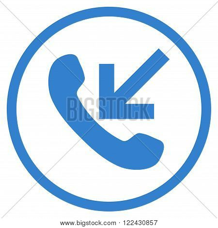 Incoming Call vector icon. Picture style is flat incoming call rounded icon drawn with cobalt color on a white background.