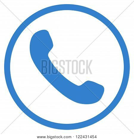 Phone Receiver vector icon. Picture style is flat phone receiver rounded icon drawn with cobalt color on a white background.