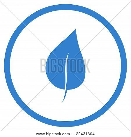 Plant Leaf vector icon. Picture style is flat plant leaf rounded icon drawn with cobalt color on a white background.