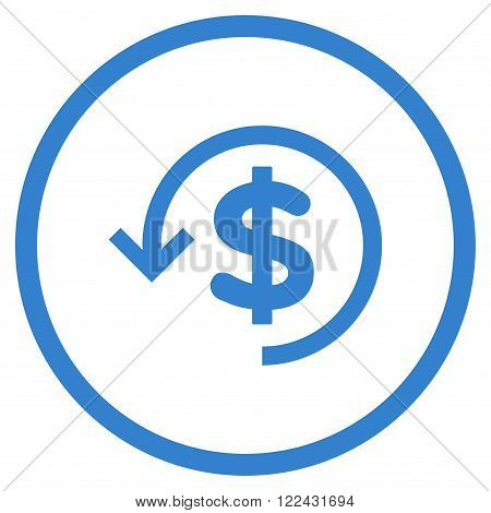 Refund vector icon. Picture style is flat refund rounded icon drawn with cobalt color on a white background.